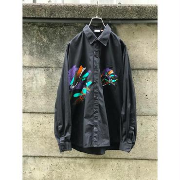 80s cotton design shirt ブラック インド製 表記XXL