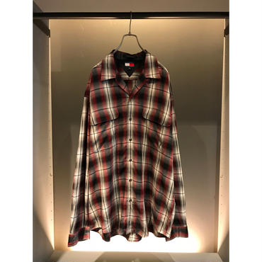 "90s ""TOMMY HILFIGER"" L/S rayon shadow plaid shirt レッド 表記L"