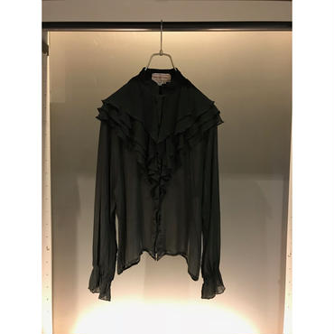 vintage black silk sheer blouse ブラック シルク100 % 表記8