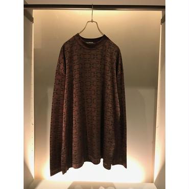 90s oversized  rayon blend cut sew ブラウン 表記XXL