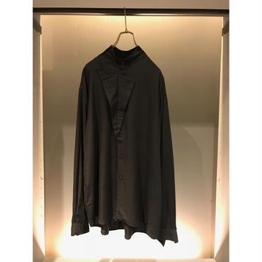 80s L/S rayon design shirt ブラック USA製 表記L