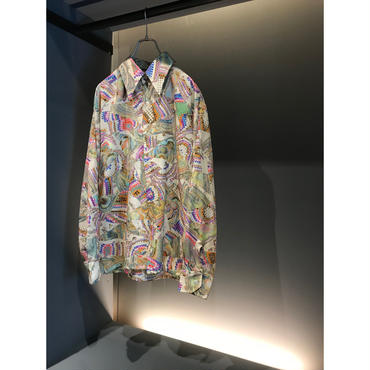 "60s ""FRUIT OF THE LOOM"" L/S poly shirt マーブル柄 表記16 1/2"