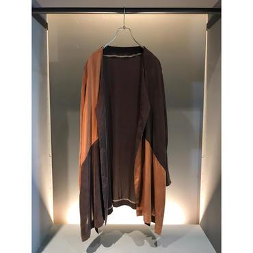 80s silk design jakcet ブラウン バイカラー