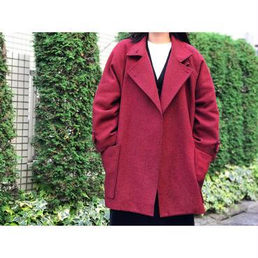 80s cashmere blend design coat レッド ヘリンボーン