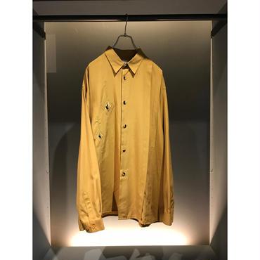90s L/S rayon blend design shirt カラシ 表記XL