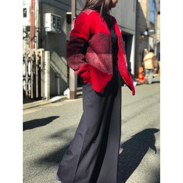 vintage mohair blend knit cardigan レッド USA製 表記M
