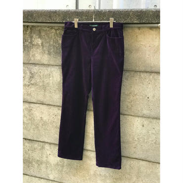 """""""LAUREN"""" velour tapered pants パープル 表記10"""
