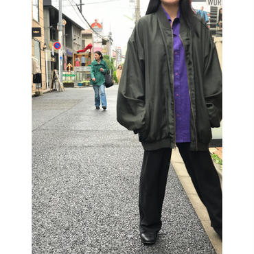 """unknown"" oversized silk blouson  ダークグリーン 表記2XL"