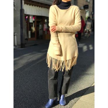 vintage cashmere knit sweater アイボリー 表記L