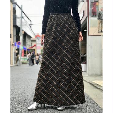 vintage wool blend plaid maxi skirt ブラウン 表記XL