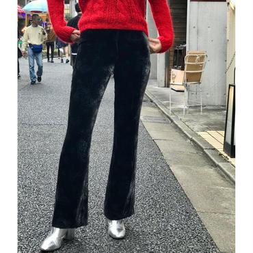 "vintage ""Ralph Lauren"" velour flare pants ブラック ペイズリー柄 表記4"