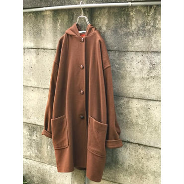 80s wool hooded coat ブラウン USA製 表記14