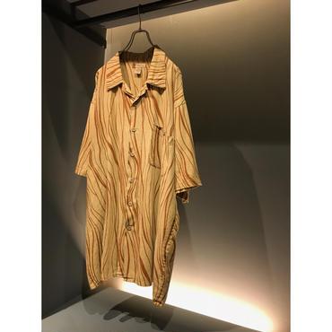 00s oversized S/S linen blend shirt ベージュ 表記2XL