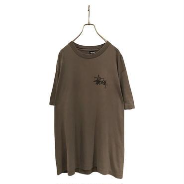 80s stussy print t-shirt カーキ 表記L 黒タグ USA製