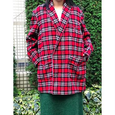 80s wool shawl collar plaid jacket レッド 表記 M