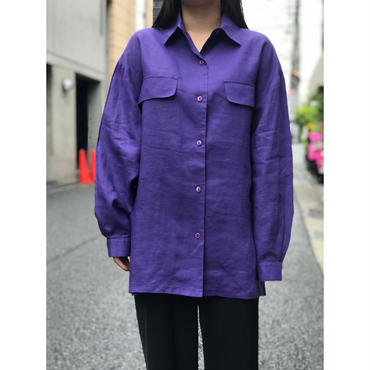 """unknown"" L/S linen shirt パープル USA製 表記M"