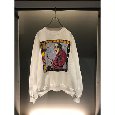 90s print sweat shirt ホワイト USA製