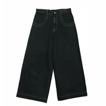 """""""unknown"""" wide denim pants w32 オーバーダイブラック"""