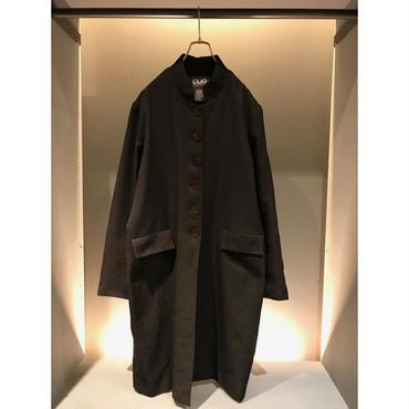 90s poly stand collar coat ブラック 表記16