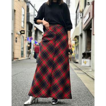 vintage wool blend plaid maxi skirt レッド 表記8