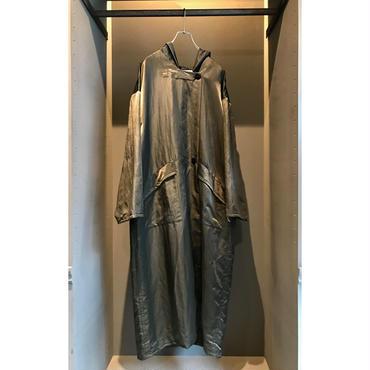80s oversized nylon hooded coat ブラック 表記S