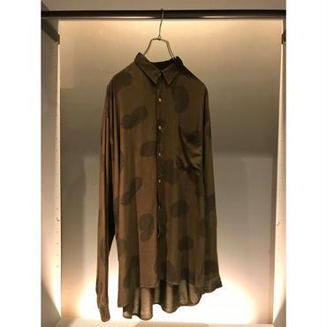 90s L/S rayon shirt ダークグリーン ペイズリー柄 表記M