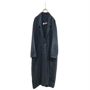 """unknown"" linen chesterfiled coat インディゴ USA製 表記S"