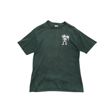 "90s OLD ""STUSSY"" print t-shirt グリーン USA製 表記L"