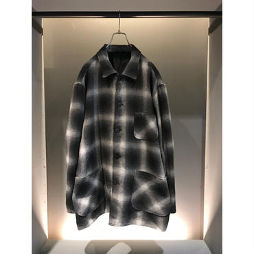 90s shadow plaid jacketブラック×ホワイト USA製