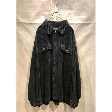 90s wide wale corduroy zip up shirt ブラック 表記2XL