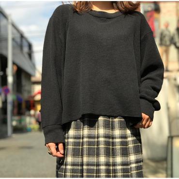90s short length thermal cut sew ブラック