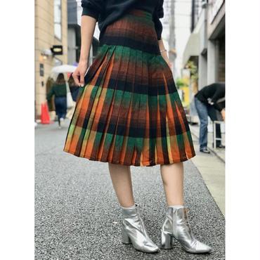 vintage wool pleats skirt オレンジ/グリーン