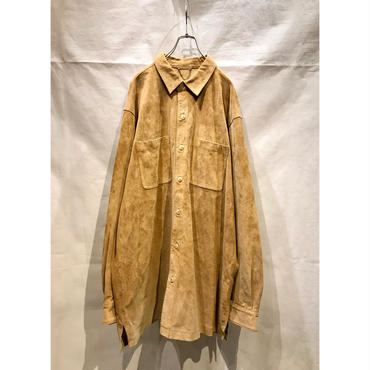 90s oversized leather shirt ベージュ