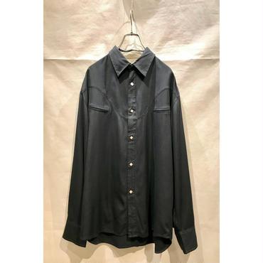 80s L/S silk western shirt ブラック 表記M