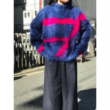 vintage mohair knit sweater ブルー×ピンク