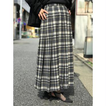 """""""PENDLETON"""" wool plaid pleats maxi skirt  グレー USA製"""