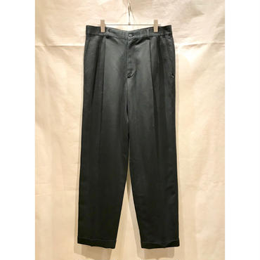 90s poly 2tuck wide slacks ブラック 表記 w32