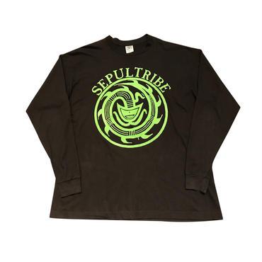 """SEPULTRIBE"" L/S  print t-shirt ブラック USA製 表記XL"