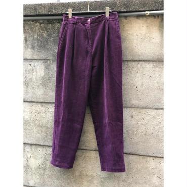 90s corduroy 1tuck pants パープル 表記10