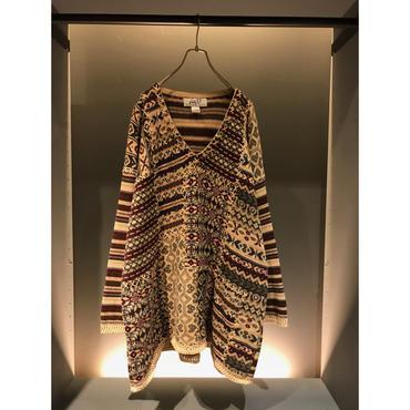 90s oversized ramie blend knit sweater 表記26/28