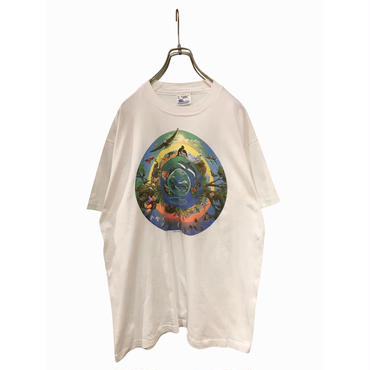 """unknown"" print t-shirt ホワイト USA製 表記L"