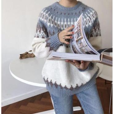 ノルディッククルーネックニット セーター 2色