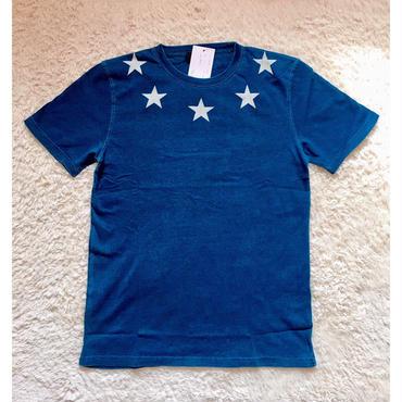 メンズ 星柄インディゴ Tシャツ