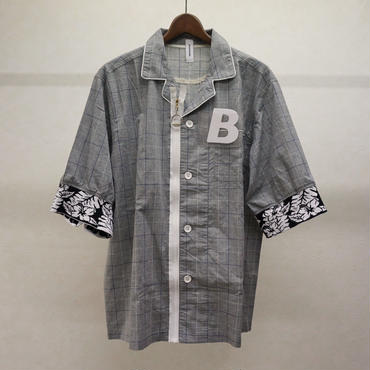 bodysong. BS18048 PJMS ストライプ半袖シャツ(チェック)