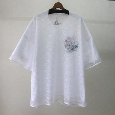 BALMUNG レース重ねプリントビッグTシャツ(白)