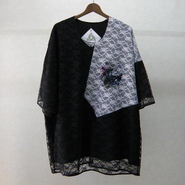BALMUNG レース重ねプリントビッグTシャツ(黒)
