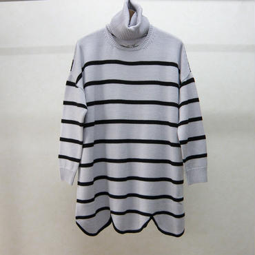 YEAH RIGHT!! RIPPLE WAVE HEM KNIT P/O w/NECK PARTS(BORDER)