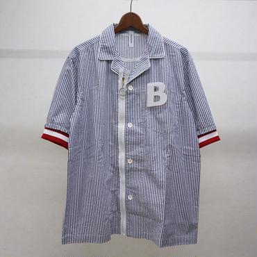 bodysong. BS18048 PJMS ストライプ半袖シャツ(ストライプ)