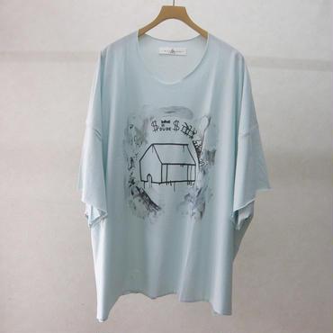 BALMUNG プリントビッグTシャツ半袖(水灰・HOUSE)