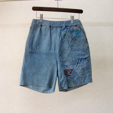 YEAH RIGHT!! A SA NO HA QUILT SHORTS(INDIGO DYE)